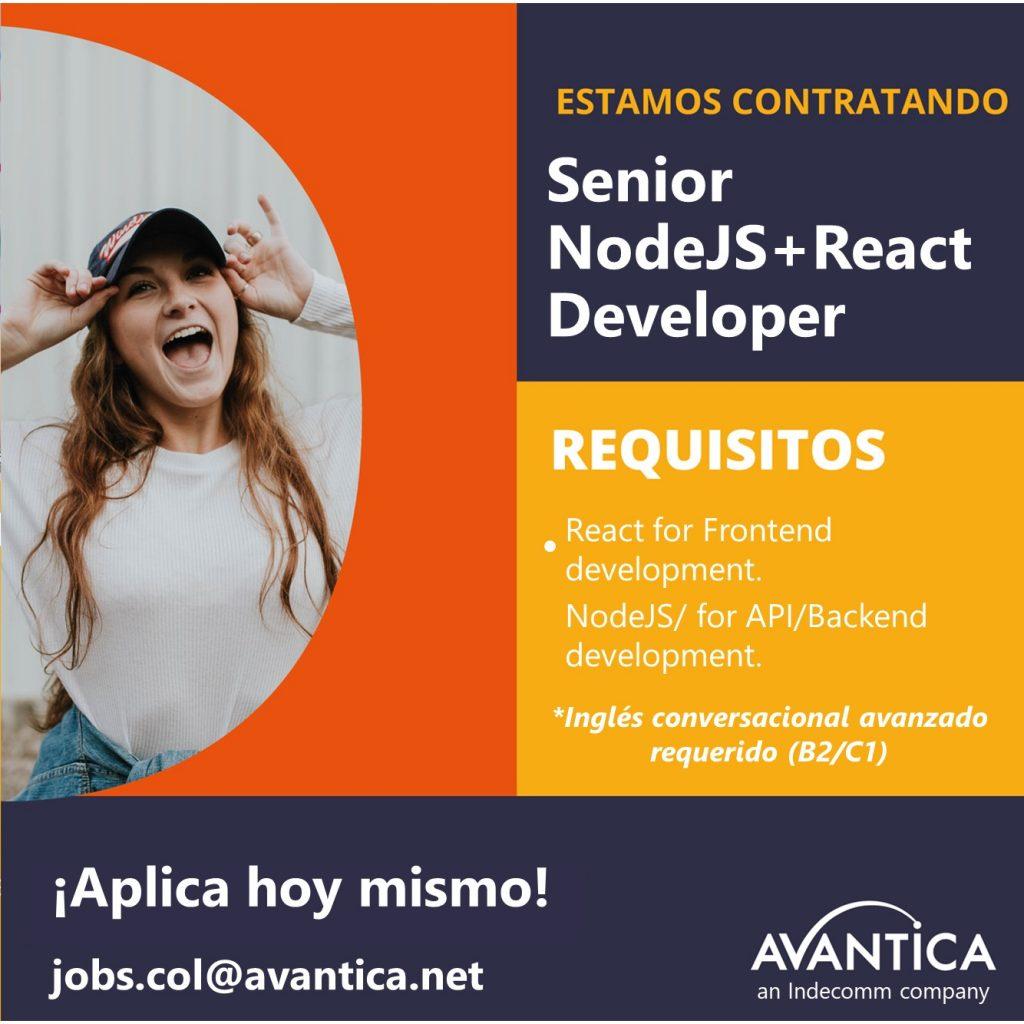 Senior nodeJs + React developer